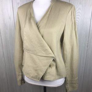 For The Republic beige linen wrap jacket